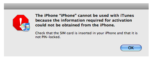 iPhone error in iTunes