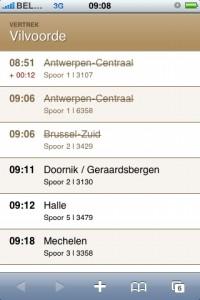 Screenshot of Railtime.be