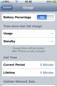 iPhone battery % status